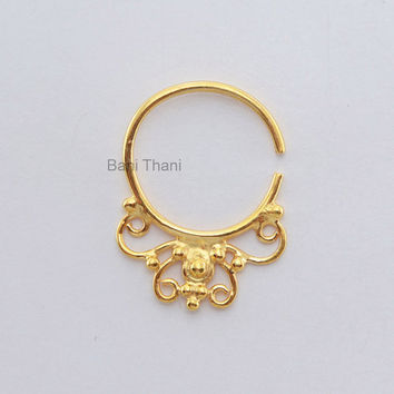 Handmade Gold Plated 925 Sterling Silver Nose Ring, Septum Piercing - Nose Jewelry - Real Septum - Nose Hoop - #1826