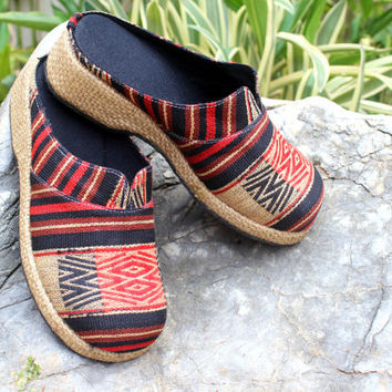 Tribal Womens Shoes Ethnic Naga Embroidered Vegan Slip On Slides Clogs