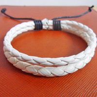 Jewelry bangle leather bracelet woven bracelet men bracelet women bracelet made of white leather woven wrist bracelet  SH-2166