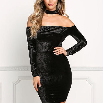 Black Velvet Choker Off Shoulder Dress