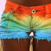 Rainbow dip dyed shorts by Addabitofsparkles on Etsy