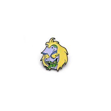 Yellow Hair Monster Eating a Bug Badge Enamel Pin for Denim Jacket Oil Drop Collar Corsage Accessories Scarf Buckle SC4110