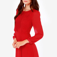 Cutie Garland Long Sleeve Red Dress