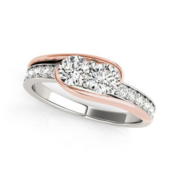 3/4 ct. tw. Two-Stone Ring with Diamond Accents in White + Rose Gold