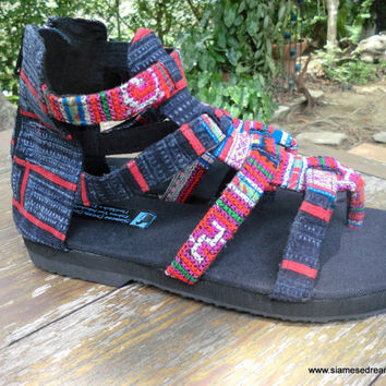 Boho Womens Sandals In Fuchsia Hmong Embroidery And Indigo Batik Vegan Summer Shoes Isadora Gladiator