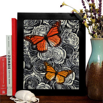 Butterflies With Roses Vintage Illustration, Eco Friendly Home, Kitchen, Bathroom, Nursery Decor, Dictionary Book Print Buy 2 Get 1 FREE