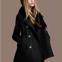 black twill Wool coat double breasted button Coat Jacket Autumn winter coat cloak S-XXL