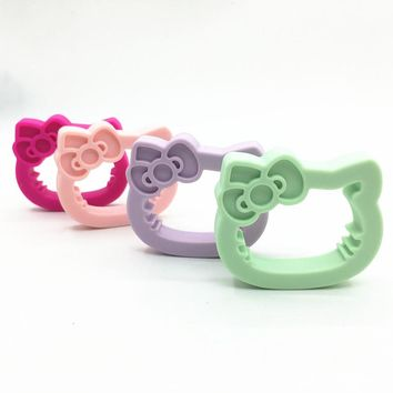 5pcs/lot silicone teething  hello kitty teether Baby Pacifier DIY Teeth Toy -baby teething Toys -baby shower gift-baby colors