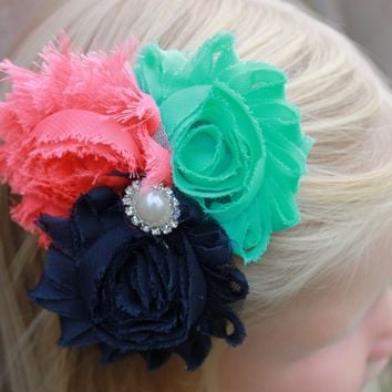 navy mint & coral flower hair clip
