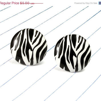 ON SALE zebra print earrings - zebra jewelry - zebra studs - zebra - animal print - black and white - animal print earrings - animal print