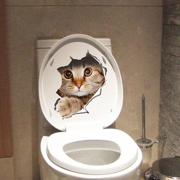 cute kitten toilet stickers wall decals 3d hole cat animals mural art home decor refrigerator posters