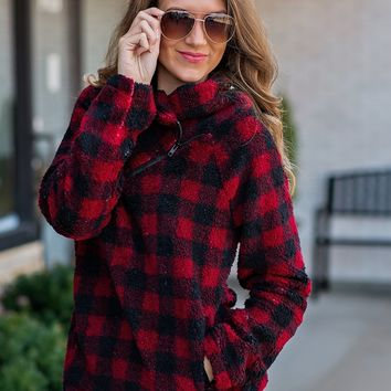 Mountain Views Plaid Zip Pullover : Red/Black