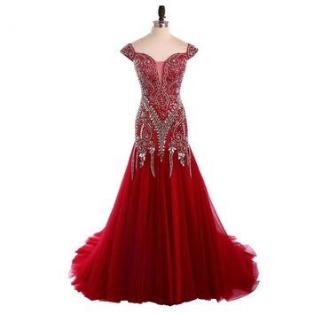 Red Mermaid Dresses Cap Sleeve Heavy Beading Gowns Party Dresses robe