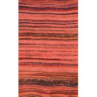 "Orange India Hand Woven Recycled Fabric Chindi Area Rug 3.6"" X 6.5"" ft.  on RoyalFurnish.com"