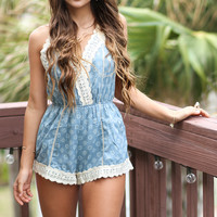 Blue Lagoon Lace V-Neck Romper