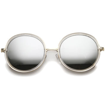 Women's Round Retro Color Mirror Lens Sunglasses A148