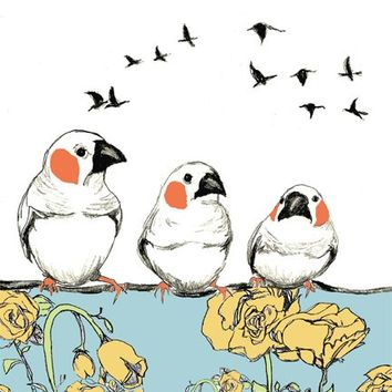 Bird Drawing - Birdie Talk - Bird Art Print