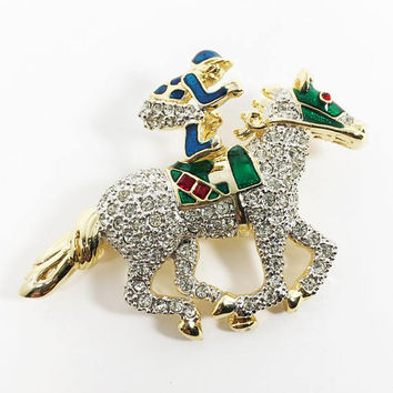 Race Horse & Jockey Trembler Pin, Rhinestone Racing Pin, Clear Rhinestones, Red Blue Green Enamel, Equine Games, Modern Vintage 1980s 1990s