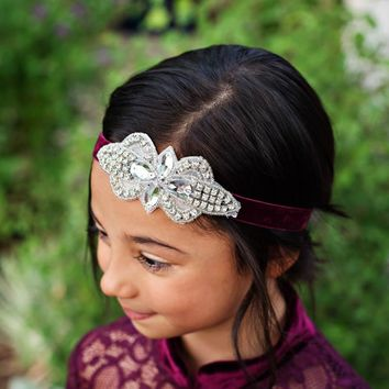 Plum Purple Vivienne Velvet Elastic Crystal Jewel Headband