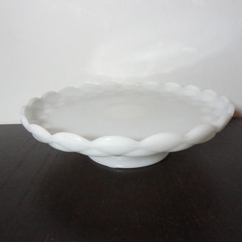 "Vintage Milk Glass Scalloped Edge Pedestal Cake Stand - 11"" Diameter - Wedding Cake Stand"