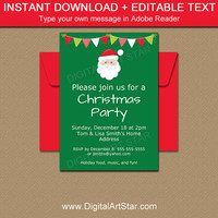 Santa Invitation - PRINTABLE Santa Invite - Holiday Party Invitation Download - Digital Christmas Invitation - Secret Santa Invitation C2