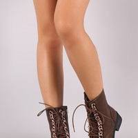 Round Toe Combat Ankle Boots
