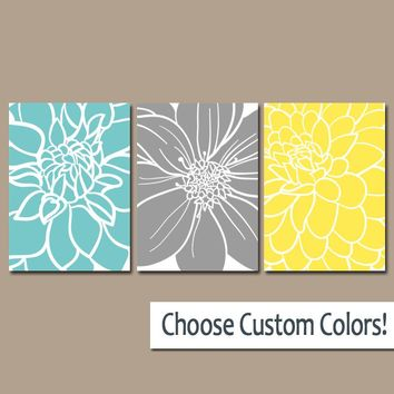 BEDROOM Wall Art, CANVAS or Prints Aqua Gray Yellow Bedroom Decor, Floral BATHROOM Wall Decor, Large Flower Burst Petals Set of 3 Home Decor