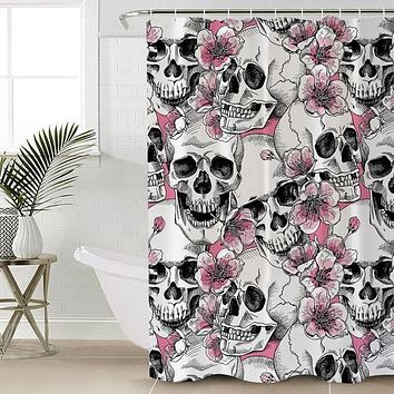 Sugar Skull Pink Floral Bath Curtain With Hooks