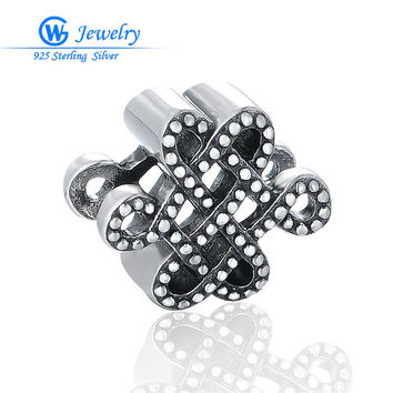 Antique Silver Jewelry Making Finding Charms Supplies Charms Fit Necklace Bracelet Chinese Knot berloque GW Fine Jewelry T198H20