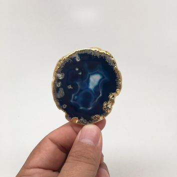 106 cts Blue Agate Druzy Slice Geode Pendant Gold Plated From Brazil, Bp986