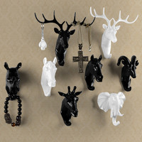Pure color black white gold animal head hook resin craft key cap clothes claw 3D animal Mural decorative hook ornament hanger
