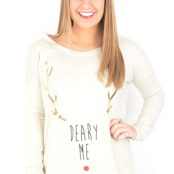 "Long Sleeve Cream ""Deary Me"" Reindeer Top"