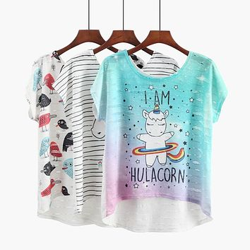 I Am Hulacorn Rainbow Unicorn Loose Flowy T-Shirt