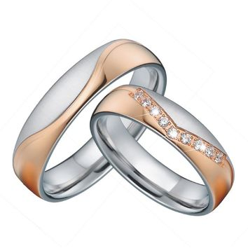 Unique Wedding band sets Anniversary Rings king and queen Rose Gold Color Best Couple Engagement rings for women