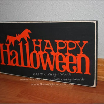 "12x6"" Happy Halloween Wood Sign"