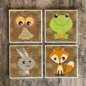 Woodland Animals Drink Coasters, Set of 4, Ceramic Tiles, Fox, Owl, Rabbit, Frog, Colorful Bar Coasters, Cabin Decor, Made to Order