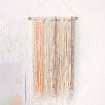 Yarn Wall Hanging on Copper Pipe in Natural Pastels