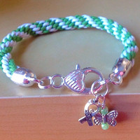 Green & White Braided Awareness Bracelet-Kumihimo-Friendship Rope Bracelet-Cystic Fibrosis-Celiac-Lyme-Non-Hodgkin Lymphomia-