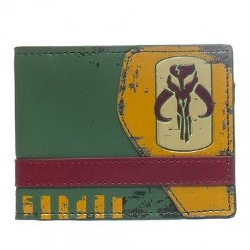 Officially Licensed Star Wars Mandalorian Boba Fett Bi-Fold billfold Wallet