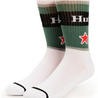 HUF Can Green & White Crew Socks