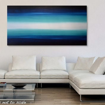 Large 48 x 24 Abstract Ocean Painting - Huge Acrylic Canvas Seascape Art - Blue Sky, Turquoise Ocean, White Glow: Oceania 4 - FREE Shipping