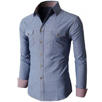 Doublju Men's Denim Slim Fit Button Down Shirts Of Various Design (KMTSTL0196)