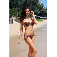Two Piece Brown Cheetah Print Bandeau Bikini Set