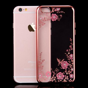 Bling Diamond Flower Plating TPU Soft Transparent Case For iPhone 6S 6 7 plus 5S SE 5 Clear Shiny Crystal Phone Covers Cases