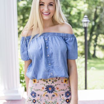 Mallory Off The Shoulder Top, Denim