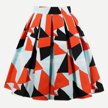 Geo Print Box Pleated Skirt