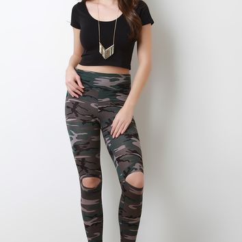 Camouflage Print Cut Out Leggings
