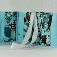 Women's Wallet  Organizer with Card Slots - 2 in 1 - Blue and Brown with Glitter Accents