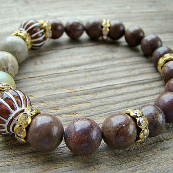Gemstone Stretch Bracelet, Impression Jasper, Crazy Horse Jasper, Bronze and White Acrylic Vintage Style Bead, Clear Rhinestone Bracelet