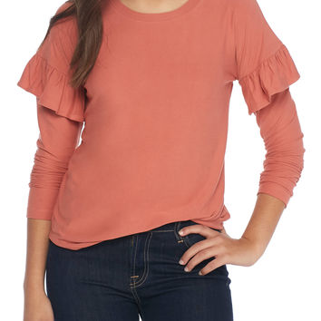 Derek Heart Ruffle Shoulder Long Sleeve Top